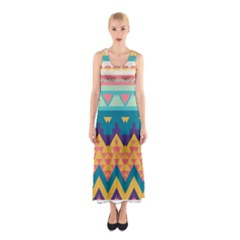 Pastel Tribal Design Full Print Maxi Dress by LalyLauraFLM
