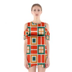 Squares And Rectangles In Retro Colors Women s Cutout Shoulder Dress by LalyLauraFLM