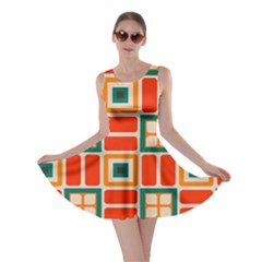 Squares And Rectangles In Retro Colors Skater Dress by LalyLauraFLM