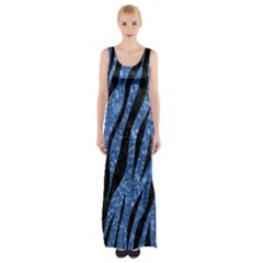 Skin3 Black Marble & Blue Marble Maxi Thigh Split Dress by trendistuff
