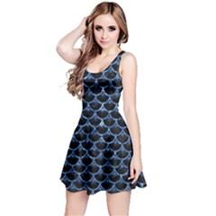 Scales3 Black Marble & Blue Marble (r) Reversible Sleeveless Dress by trendistuff