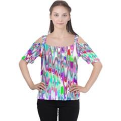 Funky Chevron Multicolor Women s Cutout Shoulder Tee by MoreColorsinLife