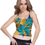 Urban Garden Abstract Flowers Blue Teal Carrot Orange Brown Spaghetti Strap Bra Top