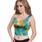 Urban Garden Abstract Flowers Blue Teal Carrot Orange Brown Crop Top
