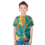 Urban Garden Abstract Flowers Blue Teal Carrot Orange Brown Kid s Cotton Tee