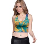 Urban Garden Abstract Flowers Blue Teal Carrot Orange Brown Racer Back Crop Top