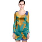 Urban Garden Abstract Flowers Blue Teal Carrot Orange Brown Long Sleeve Bodycon Dress
