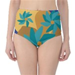 Urban Garden Abstract Flowers Blue Teal Carrot Orange Brown High-Waist Bikini Bottoms