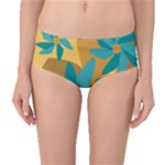 Urban Garden Abstract Flowers Blue Teal Carrot Orange Brown Mid-Waist Bikini Bottoms