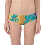Urban Garden Abstract Flowers Blue Teal Carrot Orange Brown Classic Bikini Bottoms