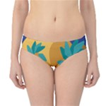 Urban Garden Abstract Flowers Blue Teal Carrot Orange Brown Hipster Bikini Bottoms