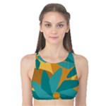 Urban Garden Abstract Flowers Blue Teal Carrot Orange Brown Tank Bikini Top