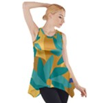 Urban Garden Abstract Flowers Blue Teal Carrot Orange Brown Side Drop Tank Tunic