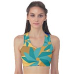 Urban Garden Abstract Flowers Blue Teal Carrot Orange Brown Women s Reversible Sports Bra
