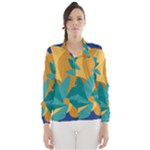 Urban Garden Abstract Flowers Blue Teal Carrot Orange Brown Wind Breaker (Women)