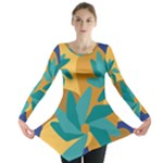 Urban Garden Abstract Flowers Blue Teal Carrot Orange Brown Long Sleeve Tunic