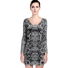 Damask2 Black Marble & Silver Brushed Metal Long Sleeve Bodycon Dress by trendistuff
