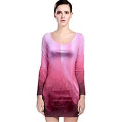 Floating Pink Long Sleeve Bodycon Dress by timelessartoncanvas