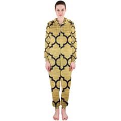 Tile1 Black Marble & Gold Brushed Metal (r) Hooded Jumpsuit (ladies) by trendistuff