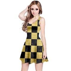 Square1 Black Marble & Gold Brushed Metal Reversible Sleeveless Dress by trendistuff