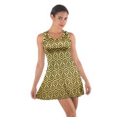 Hexagon1 Black Marble & Gold Brushed Metal (r) Cotton Racerback Dress by trendistuff