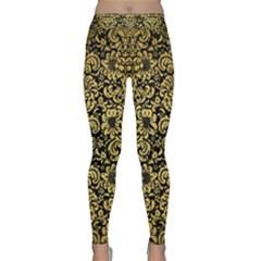 Damask2 Black Marble & Gold Brushed Metal Classic Yoga Leggings by trendistuff