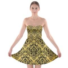 Damask1 Black Marble & Gold Brushed Metal (r) Strapless Bra Top Dress by trendistuff