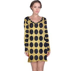 Circles1 Black Marble & Gold Brushed Metal (r) Long Sleeve Nightdress by trendistuff