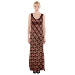 Scales2 Black Marble & Copper Brushed Metal (r) Maxi Thigh Split Dress by trendistuff