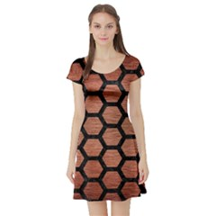 Hexagon2 Black Marble & Copper Brushed Metal (r) Short Sleeve Skater Dress by trendistuff