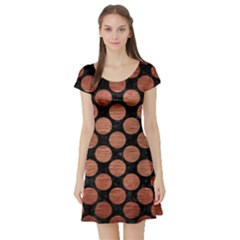 Circles2 Black Marble & Copper Brushed Metal Short Sleeve Skater Dress by trendistuff