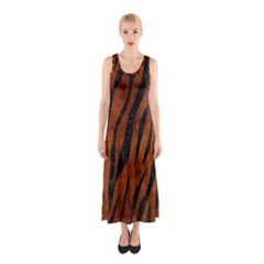 Skin3 Black Marble & Brown Burl Wood (r) Sleeveless Maxi Dress by trendistuff