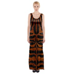 Skin2 Black Marble & Brown Burl Wood Maxi Thigh Split Dress by trendistuff