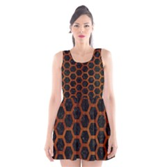 Hexagon2 Black Marble & Brown Burl Wood Scoop Neck Skater Dress by trendistuff