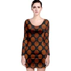 Circles2 Black Marble & Brown Burl Wood Long Sleeve Bodycon Dress by trendistuff