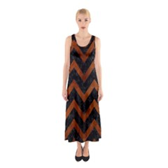 Chevron9 Black Marble & Brown Burl Wood Sleeveless Maxi Dress by trendistuff