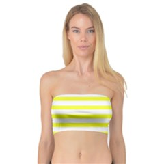 Bright Yellow And White Stripes Bandeau Top by timelessartoncanvas