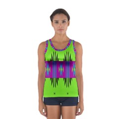 Tribal Shapes On A Green Background Women s Sport Tank Top by LalyLauraFLM