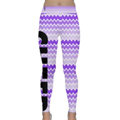 Cheer Chevron In Purple Pike Yoga Leggings  by GalaxySpirit