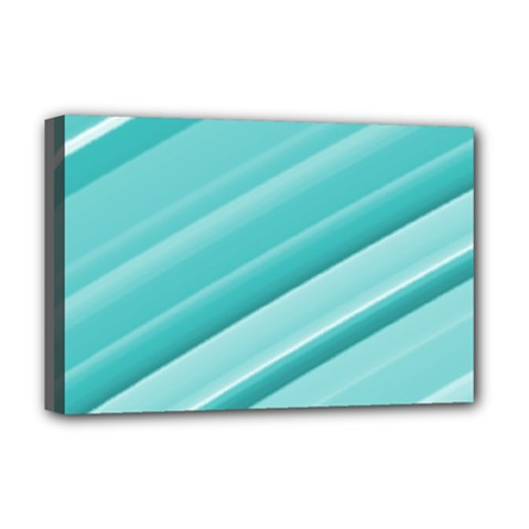 Teal And White Fun Deluxe Canvas 18  X 12   by timelessartoncanvas