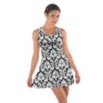 Black & White Damask Pattern Cotton Racerback Dress