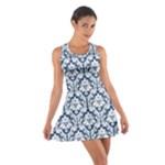 Navy Blue Damask Pattern Cotton Racerback Dress