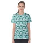 Emerald Green Damask Pattern Women s Cotton Tee