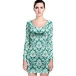 Emerald Green Damask Pattern Long Sleeve Bodycon Dress