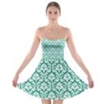 Emerald Green Damask Pattern Strapless Bra Top Dress