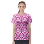 Hot Pink Damask Pattern Women s Sport Mesh Tee