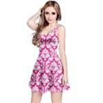 Hot Pink Damask Pattern Reversible Sleeveless Dress