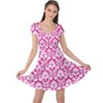 Hot Pink Damask Pattern Cap Sleeve Dress