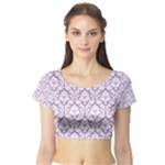 Lilac Damask Pattern Short Sleeve Crop Top (Tight Fit)