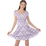 Lilac Damask Pattern Cap Sleeve Dress